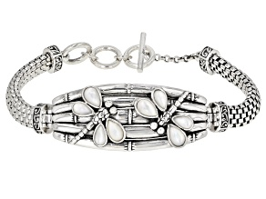 Pre-Owned Cultured Freshwater Pearl Dragonfly Rhodium Over Sterling Silver Bracelet