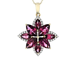 """Pre-Owned Rhodolite Garnet And White Diamond 14k Yellow Gold Flower Pendant With 18"""" Singapore Chain"""