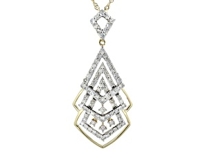 Pre-Owned White Diamond 10K Yellow Gold Pendant With Chain 0.75ctw