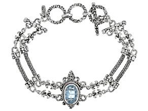 Pre-Owned Blue Topaz Sterling Silver Bracelet 3.40ctw