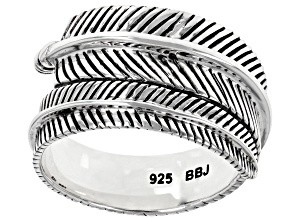 Pre-Owned Rhodium Over Silver Feather Bypass Ring
