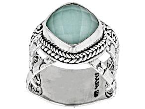 Pre-Owned Mint Chrysoprase Quartz Doublet Silver Ring