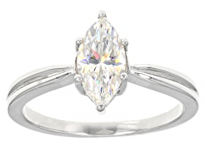 Pre-Owned Fabulite strontium titanate rhodium over sterling silver ring solitaire ring 1.25ct