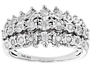 Pre-Owned White Diamond Rhodium Over Sterling Silver Multi-Row Ring 0.45ctw