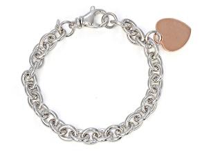 Pre-Owned Sterling Silver Italian Hammered/Polished Oval Link Bracelet