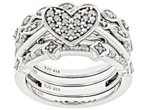 Pre-Owned White Diamond Rhodium Over Sterling Silver Heart Cluster Ring With 3 Stackable Band Rings