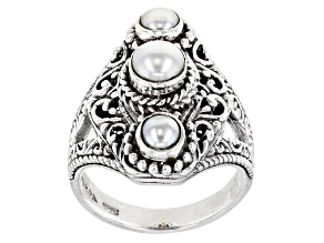 Pre-Owned Cultured Freshwater Pearl Sterling Silver Ring 5mm