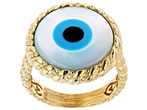 Pre-Owned Mother of Pearl Evil Eye 18K Yellow Gold Over Sterling Silver Ring