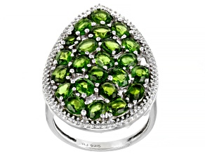 Pre-Owned Green Chrome Diopside Rhodium Over Sterling Silver Ring 3.78ctw