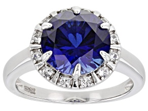 Pre-Owned Blue Lab Created Sapphire Rhodium Over Sterling Silver Ring 4.20ctw