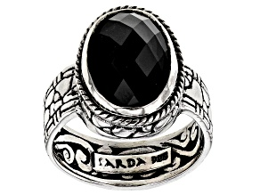Pre-Owned Black Spinel Silver Solitaire Ring 6.00ctw