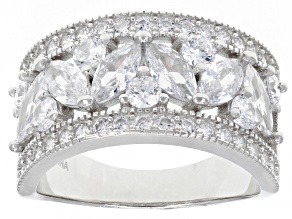 Pre-Owned White Cubic Zirconia Rhodium Over Sterling Silver Ring 3.73ctw