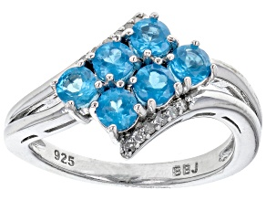 Pre-Owned Round Neon Apatite With Round White Diamond Rhodium Over Sterling Silver Ring 0.87ctw