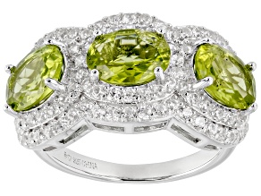 Pre-Owned Green Peridot Rhodium Over Sterling Silver Ring 4.98ctw
