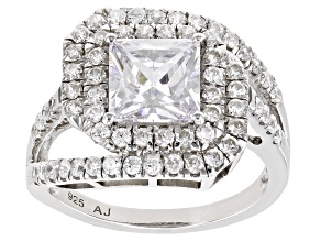Pre-Owned White Cubic Zirconia Platinum Over Sterling Silver Ring 4.67ctw