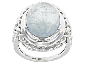 Pre-Owned Blue Aquamarine Sterling Silver Solitaire Ring