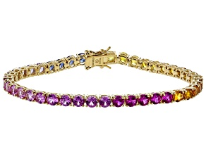 Pre-Owned Multi color Lab Created Sapphire 18K Yellow Gold Over Sterling Silver Bracelet 13.45ctw