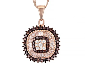 Pre-Owned Mocha And White Cubic Zirconia 18k Rose Gold Over Sterling Silver Pendant With Chain 1.55c