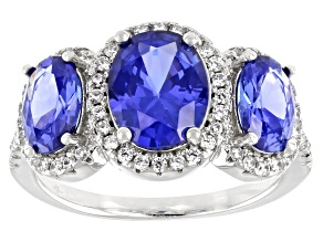 Pre-Owned Blue And White Cubic Zirconia Platinum Over Sterling Silver Ring 6.14ctw