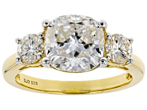 Pre-Owned Moissanite 14k Yellow Gold Over Silver Ring 3.46ctw     DEW.