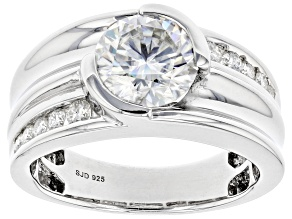 Pre-Owned Moissanite Plativeve Mens Ring 3.08ctw DEW.