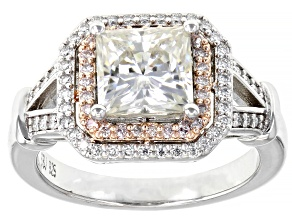 Pre-Owned Moissanite and pink diamond platineve ring 2.56ctw DEW.