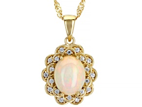 Pre-Owned Multicolor Ethiopian Opal 18k Yellow Gold Over Silver Pendant With Chain 1.73ctw