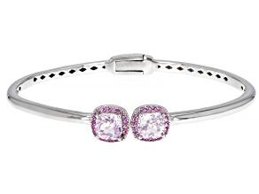 Pre-Owned Pink Kunzite Rhodium Over Sterling Silver Bracelet 3.92ctw