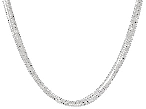 Pre-Owned Sterling Silver Multi-Strand Diamond Cut Bead Chain Necklace 18 inch