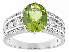 Pre-Owned Green Peridot Rhodium Over Sterling Silver Ring 2.90ctw