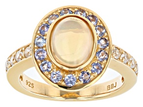 Pre-Owned Multicolor Ethiopian Opal 18K Yellow Gold Over Sterling Silver 0.91ctw