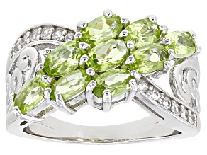 Pre-Owned Green Manchurian Peridot™ With White Zircon Rhodium Over Silver Ring 1.94ctw