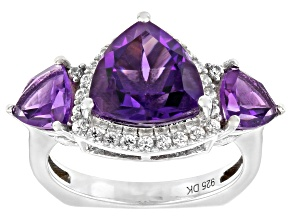 Pre-Owned Purple Amethyst Rhodium Over Sterling Silver Ring 3.87ctw