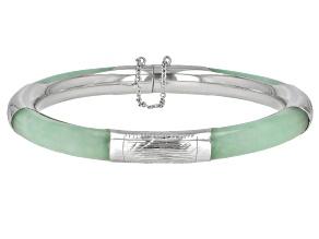 Pre-Owned Jadeite Sterling Silver Bangle Bracelet