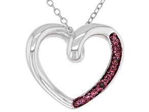 """Pre-Owned Red Diamond Accent Rhodium Over Sterling Silver Heart Pendant With 18"""" Chain"""