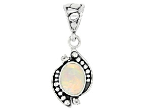 Pre-Owned Ethiopian Opal & White Topaz Sterling Silver Pendant 1.10ctw