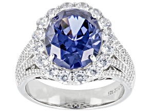 Pre-Owned Blue And White Cubic Zirconia Platinum Over Sterling Silver Ring 8.92ctw