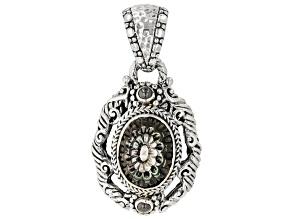 Pre-Owned Black Mother-Of-Pearl Dahlia Sterling Silver Pendant
