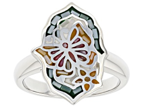 Pre-Owned White Mother-Of-Pearl Sterling Silver Mosaic Butterfly Ring