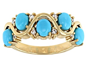 Pre-Owned Blue Sleeping Beauty Turquoise 18K Yellow Gold Over Sterling Silver Ring 0.16ctw