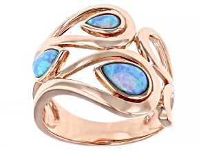 Pre-Owned Blue Lab Created Opal 18K Rose Gold Over Silver Rain Drop Ring