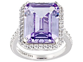 Pre-Owned Purple and White Cubic Zirconium Rhodium Over Silver Ring. (15.20ctw DEW)