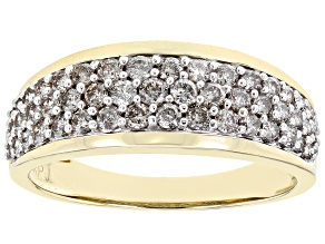 Pre-Owned White Diamond 10K Yellow Gold Wide Band Ring 0.75ctw
