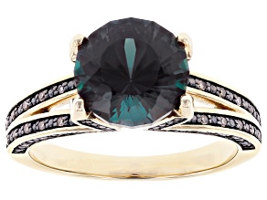 Pre-Owned Blue Lab Created Alexandrite 10K Yellow Gold Ring 3.33ctw