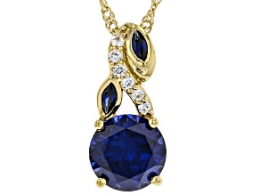 Pre-Owned Blue Lab Created Sapphire 18k Yellow Gold Over Sterling Silver Pendant With Chain 3.22ctw