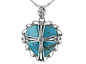 Pre-Owned Blue Turquoise Over Sterling Silver Pendant With Chain 0.15ctw