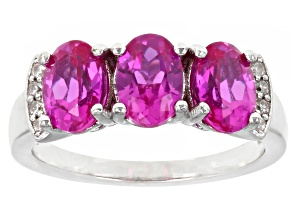 Pre-Owned Pink Lab Created Sapphire Rhodium Over Sterling Silver Ring 2.96ctw