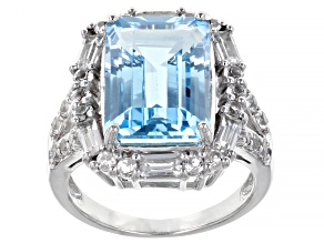 Pre-Owned Sky Blue Topaz Rhodium Over Sterling Silver Statement Ring 9.80ctw