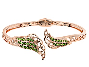 Pre-Owned Chrome Diopside 18K Rose Gold Over Silver Feather Hinged Cuff Bracelet 1.19ctw