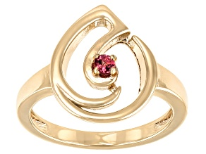 Pre-Owned Color Shift Garnet 18K Yellow Gold Over Silver Music Note Ring 0.07ct